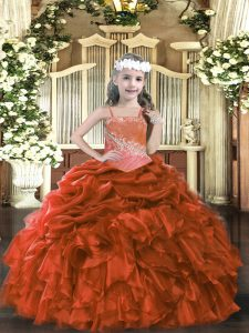 Floor Length Rust Red Child Pageant Dress Straps Sleeveless Lace Up