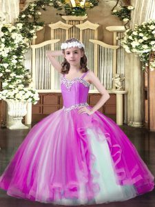 Best Floor Length Lace Up Little Girls Pageant Dress Wholesale Fuchsia for Party and Quinceanera with Beading