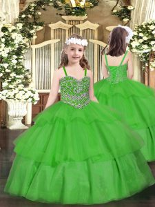 Beauteous Green Lace Up Straps Beading and Ruffled Layers Child Pageant Dress Organza Sleeveless