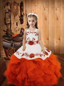 Nice Floor Length Orange Red Glitz Pageant Dress Straps Sleeveless Lace Up