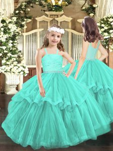 Sleeveless Floor Length Beading and Lace Zipper Little Girls Pageant Dress with Turquoise