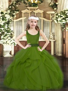 Olive Green Sleeveless Tulle Zipper Little Girl Pageant Gowns for Party and Quinceanera