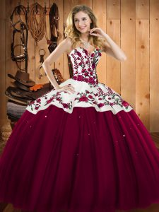 Satin and Tulle Sleeveless Floor Length Ball Gown Prom Dress and Embroidery