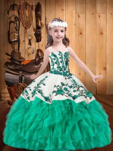Nice Organza Straps Sleeveless Lace Up Embroidery and Ruffles Winning Pageant Gowns in Turquoise