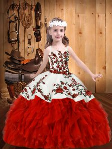 Straps Sleeveless Lace Up Pageant Dress Red Organza