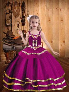 Luxurious Ball Gowns Glitz Pageant Dress Fuchsia Straps Tulle Sleeveless Floor Length Lace Up