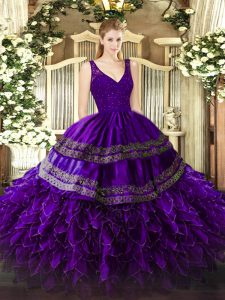 Most Popular Purple Ball Gowns Organza V-neck Sleeveless Beading and Lace and Ruffles Floor Length Backless Sweet 16 Dresses