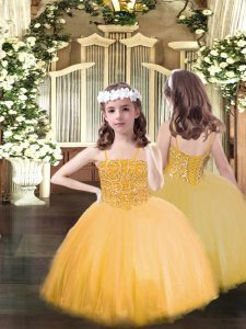 Orange Ball Gowns Spaghetti Straps Sleeveless Tulle Floor Length Lace Up Beading Girls Pageant Dresses