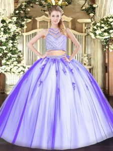 Lavender Two Pieces Scoop Sleeveless Tulle Floor Length Zipper Beading Quince Ball Gowns