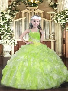 Yellow Green Organza Lace Up Kids Formal Wear Sleeveless Floor Length Beading and Ruffles