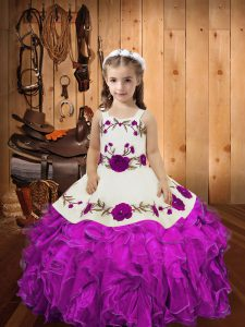 Stunning Floor Length Lace Up Custom Made Pageant Dress Fuchsia for Sweet 16 and Quinceanera with Embroidery and Ruffles and Hand Made Flower