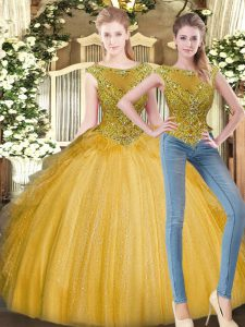 Sumptuous Gold Tulle Zipper 15 Quinceanera Dress Sleeveless Floor Length Beading and Ruffles