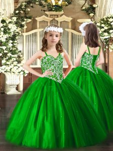 Perfect Green Straps Neckline Beading Glitz Pageant Dress Sleeveless Lace Up