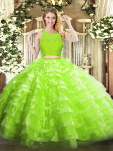 Sexy Yellow Green Scoop Zipper Lace and Ruffled Layers Ball Gown Prom Dress Sleeveless