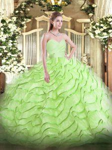 Artistic Sweetheart Sleeveless Brush Train Lace Up Vestidos de Quinceanera Yellow Green Organza