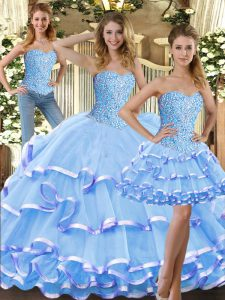 Modern Floor Length Lace Up Quinceanera Gowns Baby Blue for Military Ball and Sweet 16 and Quinceanera with Beading and Ruffled Layers
