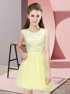 Latest Yellow Side Zipper Dama Dress for Quinceanera Lace Sleeveless Mini Length