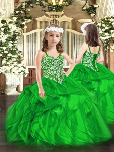 Green Organza Lace Up Kids Formal Wear Sleeveless Floor Length Beading and Ruffles