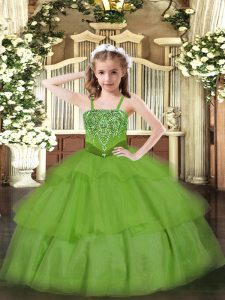 Green Straps Lace Up Beading and Ruffled Layers Little Girls Pageant Dress Wholesale Sleeveless