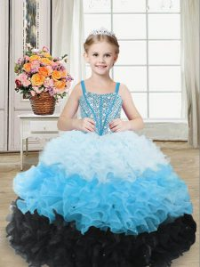 Sweetheart Sleeveless Lace Up Custom Made Pageant Dress Multi-color Organza
