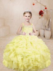 Exquisite Ball Gowns Pageant Dress Wholesale Light Yellow Straps Organza Sleeveless Floor Length Lace Up
