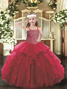 Excellent Red Straps Neckline Beading and Ruffles Pageant Dress Toddler Sleeveless Lace Up