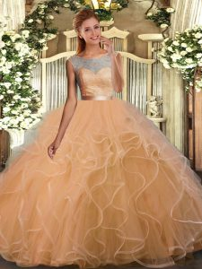 Peach Tulle Backless Scoop Sleeveless Floor Length Quinceanera Gown Lace and Ruffles