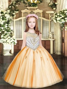 Orange Zipper Glitz Pageant Dress Beading and Appliques Sleeveless Floor Length