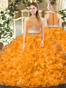 Most Popular Sleeveless Organza Floor Length Zipper Sweet 16 Dress in Orange Red with Beading and Ruffles