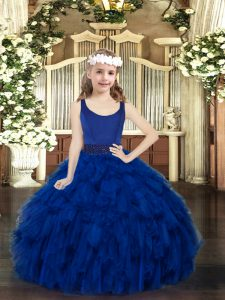 Royal Blue Scoop Zipper Beading and Ruffles Girls Pageant Dresses Sleeveless
