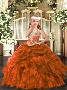 Rust Red Ball Gowns Organza V-neck Sleeveless Beading and Ruffles and Pick Ups Floor Length Lace Up Pageant Dress Womens