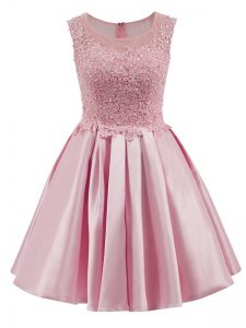 Inexpensive Baby Pink Scoop Neckline Lace Court Dresses for Sweet 16 Sleeveless Zipper