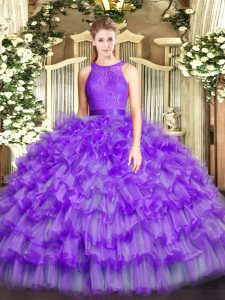 Eggplant Purple Ball Gowns Ruffled Layers Quinceanera Dresses Zipper Organza Sleeveless Floor Length