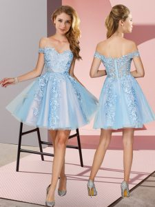 Light Blue A-line Tulle Off The Shoulder Sleeveless Appliques Mini Length Zipper Quinceanera Court of Honor Dress