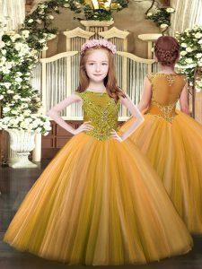 Orange Ball Gowns Beading Pageant Dress Toddler Zipper Tulle Sleeveless Floor Length