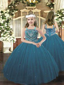 Trendy Teal Sleeveless Beading Floor Length Pageant Dress Toddler