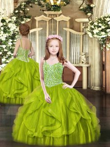 Spaghetti Straps Sleeveless Pageant Dress for Teens Floor Length Beading and Ruffles Olive Green Tulle