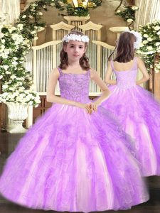 New Style Organza Sleeveless Floor Length Little Girl Pageant Gowns and Beading and Ruffles