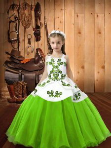 Straps Neckline Embroidery Pageant Dress for Teens Sleeveless Lace Up