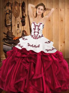 High Quality Satin and Organza Sleeveless Floor Length Quinceanera Gown and Embroidery and Ruffles