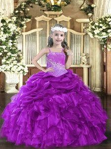 Modern Purple Organza Lace Up Pageant Dress Toddler Sleeveless Floor Length Beading and Ruffles
