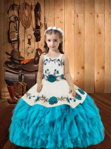 Eye-catching Straps Sleeveless Little Girl Pageant Dress Floor Length Embroidery and Ruffles Baby Blue Organza