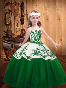 Custom Design Tulle Straps Sleeveless Lace Up Embroidery Pageant Dresses in Dark Green