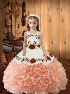 Peach Ball Gowns Embroidery and Ruffles Little Girls Pageant Dress Lace Up Fabric With Rolling Flowers Sleeveless Floor Length