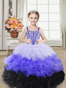 Adorable Organza Straps Sleeveless Lace Up Beading and Ruffles Pageant Dress Wholesale in Multi-color