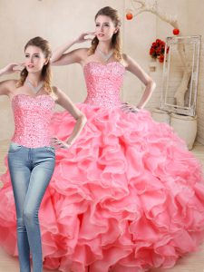 Beading and Ruffles Quinceanera Dress Watermelon Red Lace Up Sleeveless Floor Length