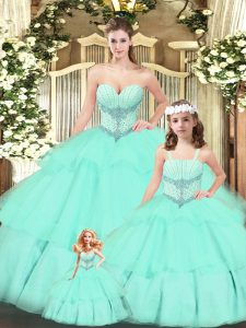 Attractive Sweetheart Sleeveless Tulle Quinceanera Gown Beading and Ruching Lace Up