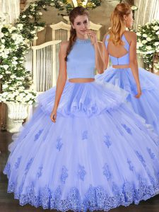 Light Blue Sleeveless Beading and Appliques and Ruffles Floor Length Sweet 16 Dresses