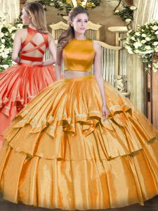 Orange Quinceanera Gowns Military Ball and Sweet 16 and Quinceanera with Ruffled Layers High-neck Sleeveless Criss Cross