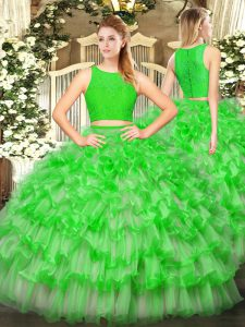 Shining Ruffled Layers Quinceanera Gowns Green Zipper Sleeveless Floor Length